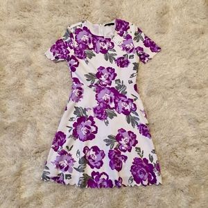 Banana Republic Floral Dress With Scallop Detail